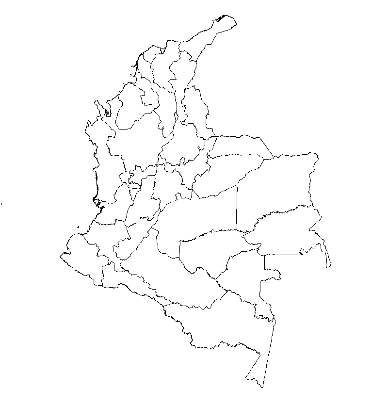 mapa colombia mudo blanco colorear