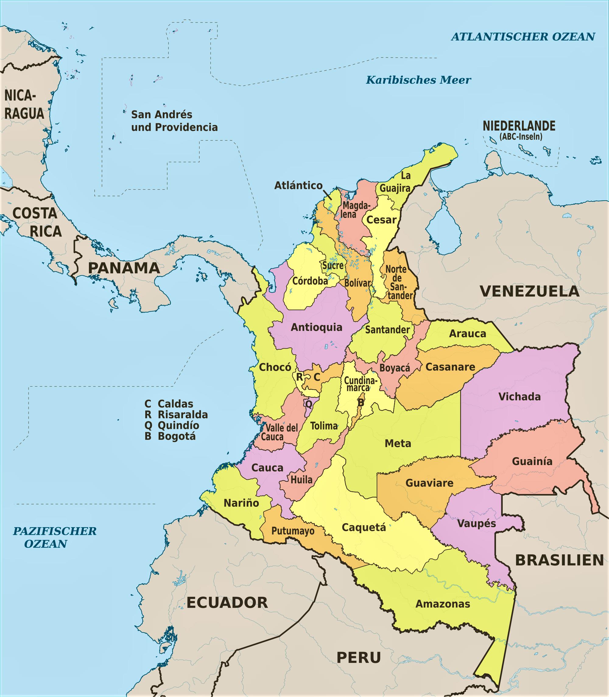Mapa De Colombia Político Físico Para Imprimir 2019
