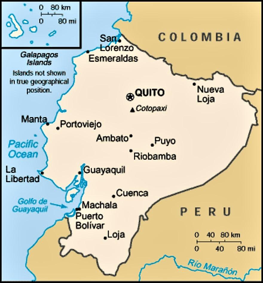 mapa capitales ecuador
