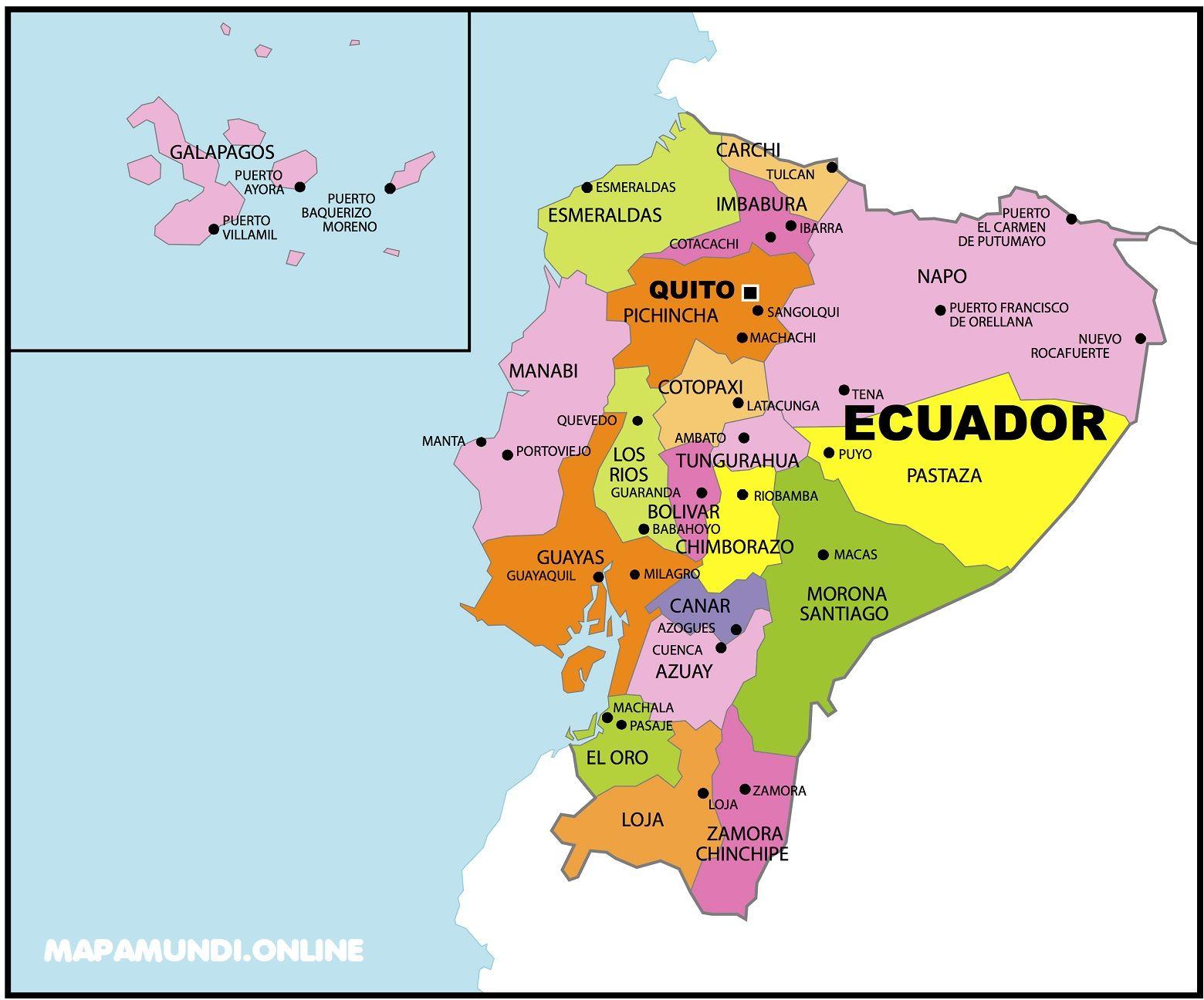 ⊛ Mapa de Ecuador 🥇  Político & Físico ▷ Para Imprimir   2020