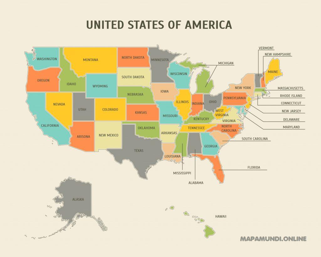 mapa politico estados unidos america
