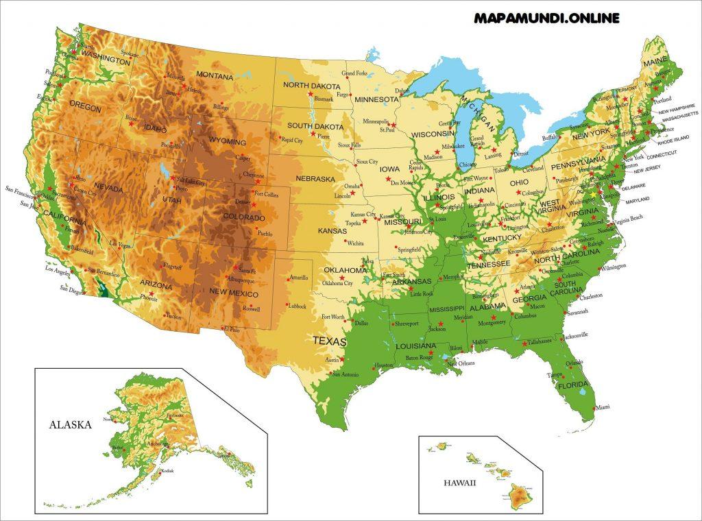Mapa Estados Unidos físico-político con nombres de estados y capitales