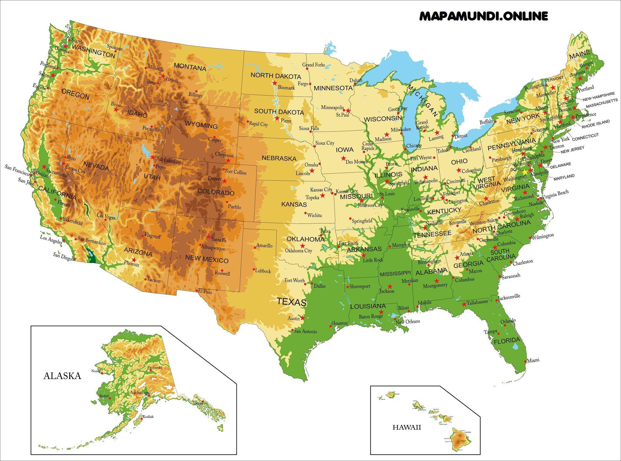 Mapa Politico De Eeuu Con Sus Estados Y Ciudades.Mapa De Estados Unidos Politico Fisico Descargar