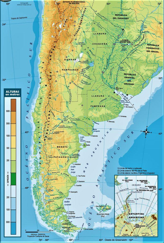 mapa fisico argentina nombres