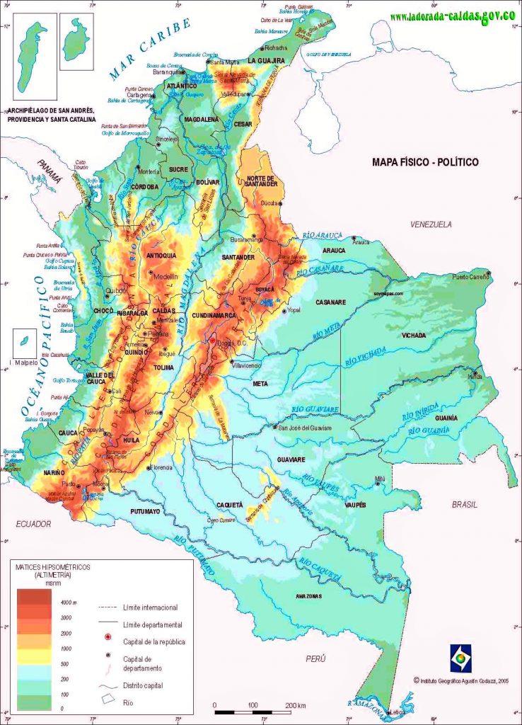 mapa fisico politico colombia