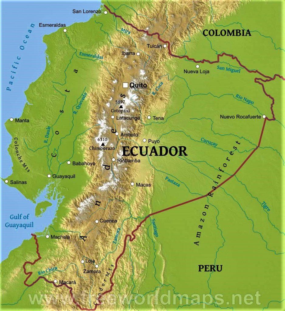 mapa fisico del ecuador hd
