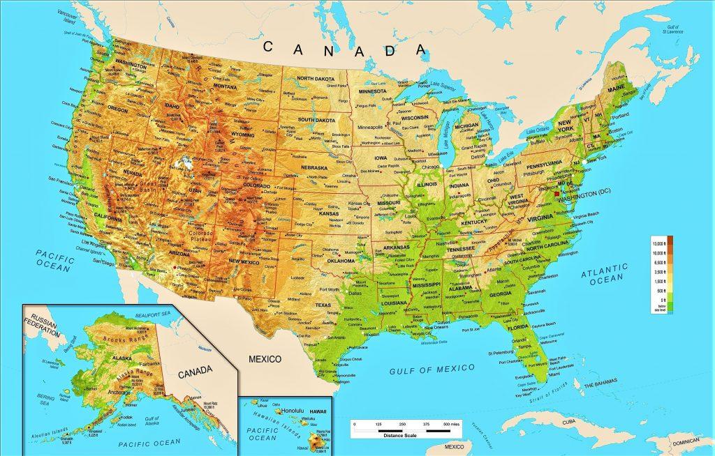 mapa fisico politico eeuu estados unidos america