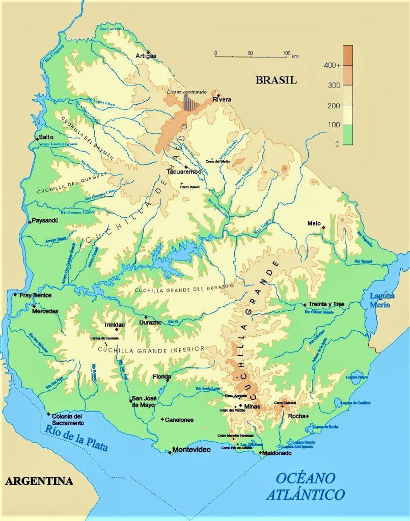 mapa fisico uruguay