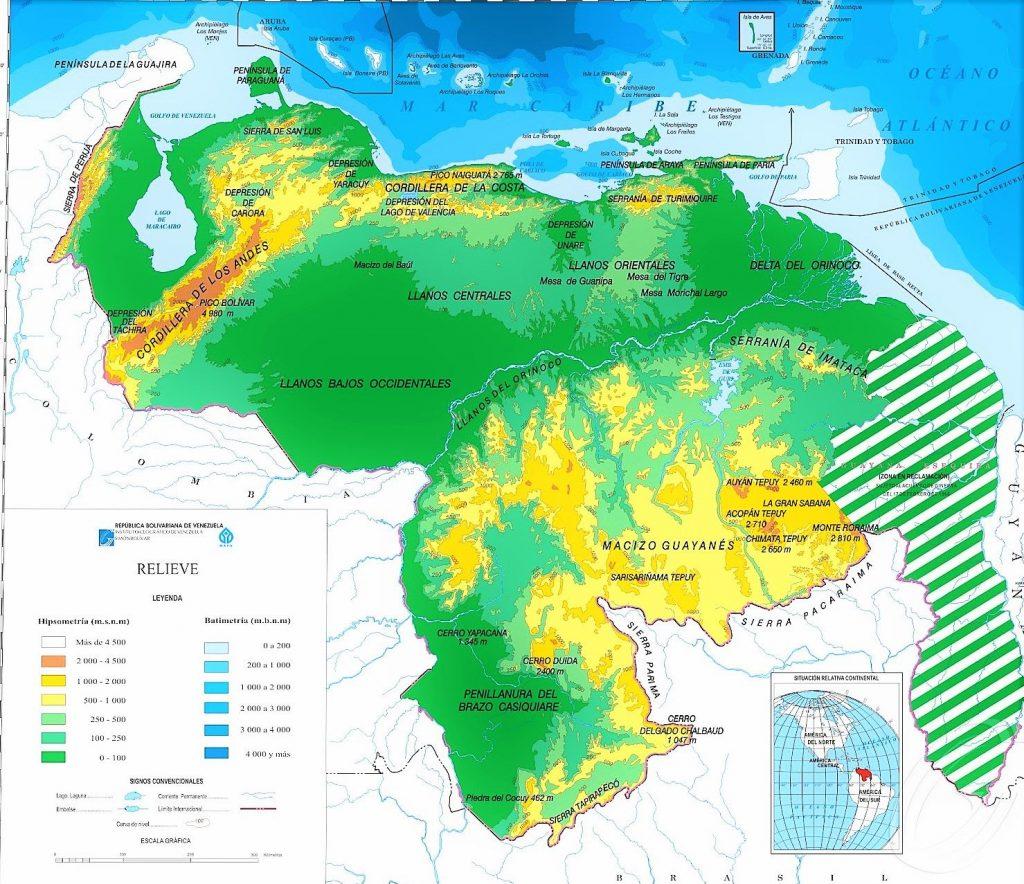 mapa fisico venezuela