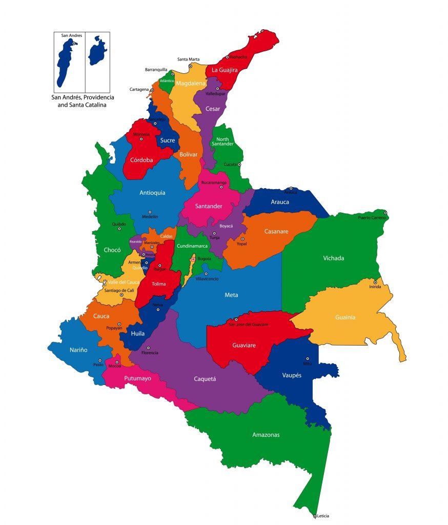 mapa de colombia por regiones