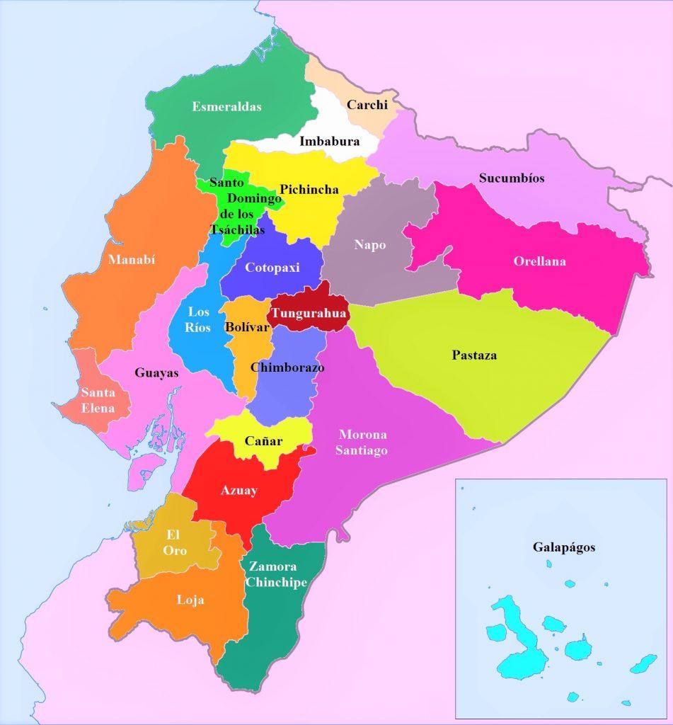 mapa politico ecuador con nombres