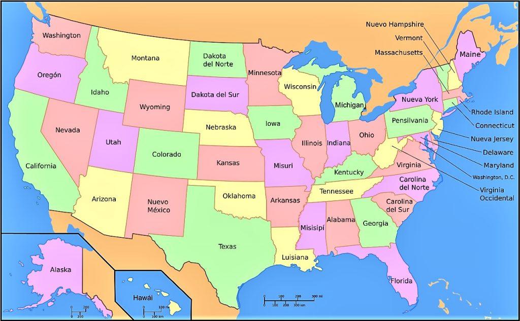 mapa eeuu politico con nombres español estados unidos