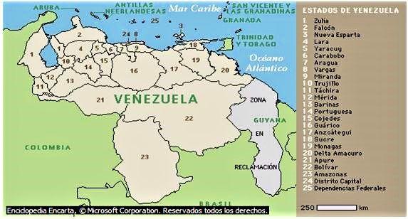 mapa estados capitales venezuela