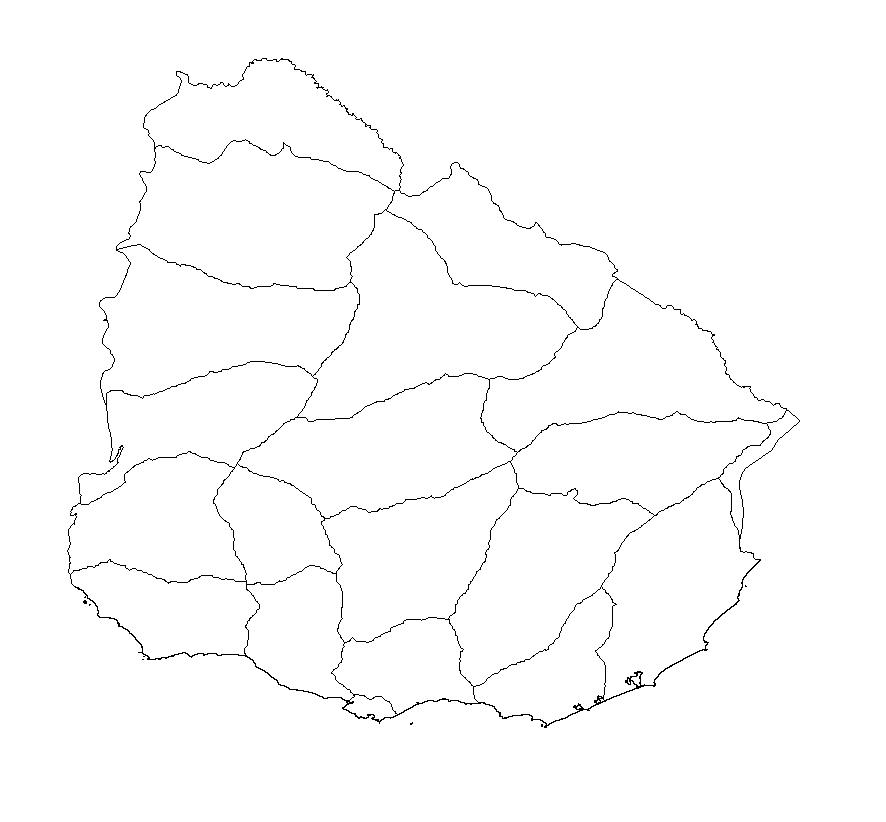 mapa uruguay colorear blanco mudo