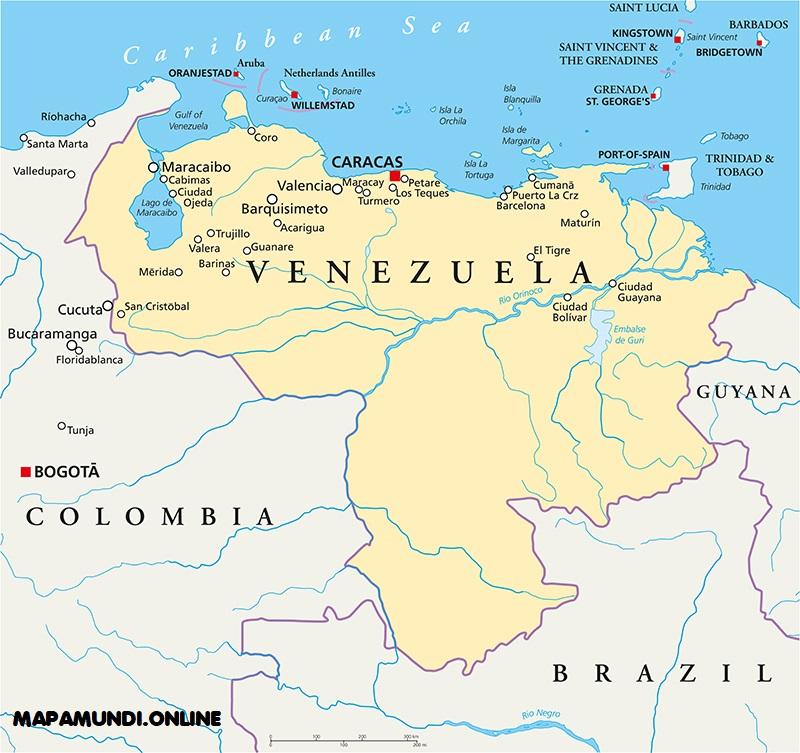 mapa venezuela nombres ciudades