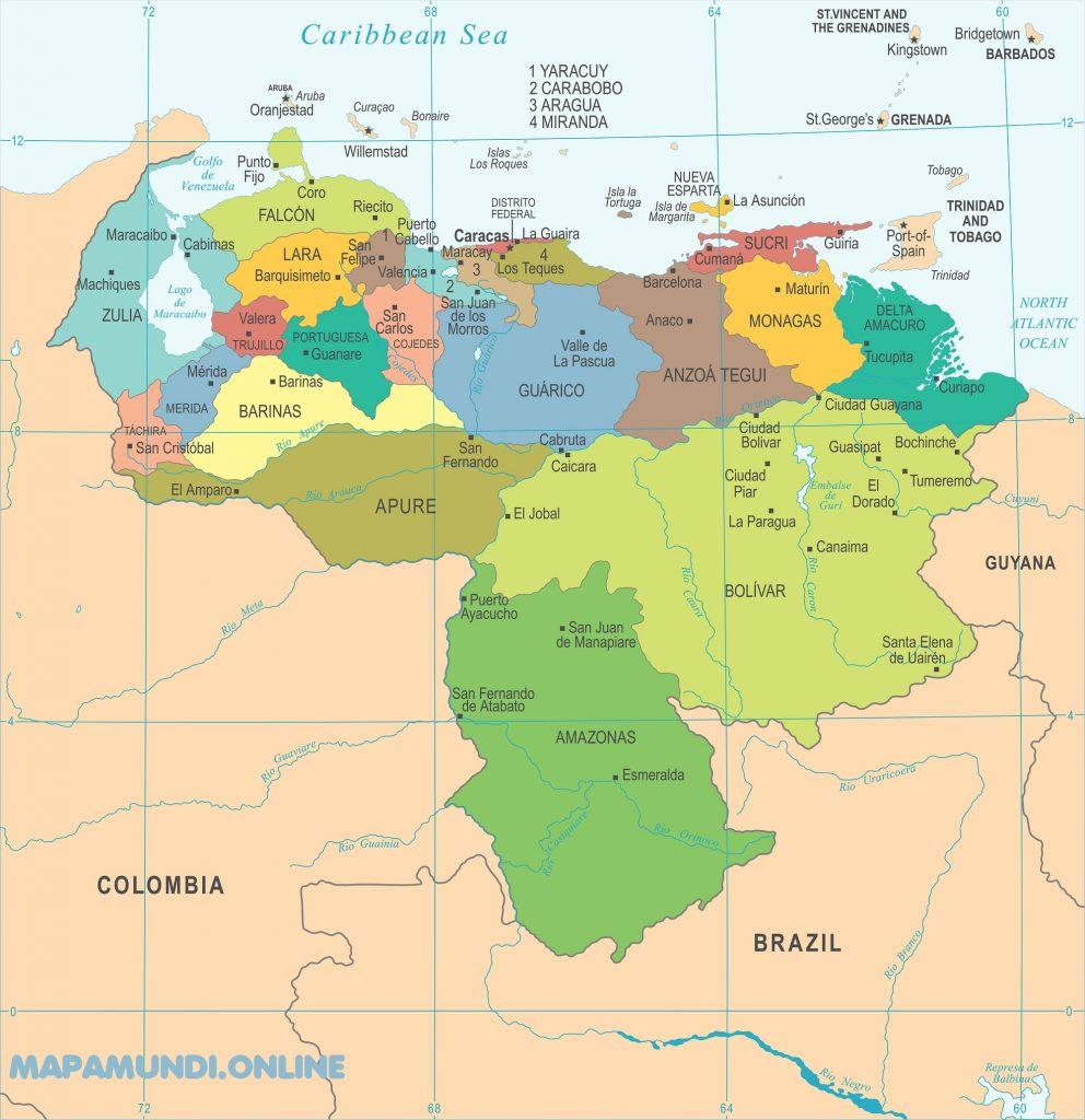 mapa venezuela politico estados nombres