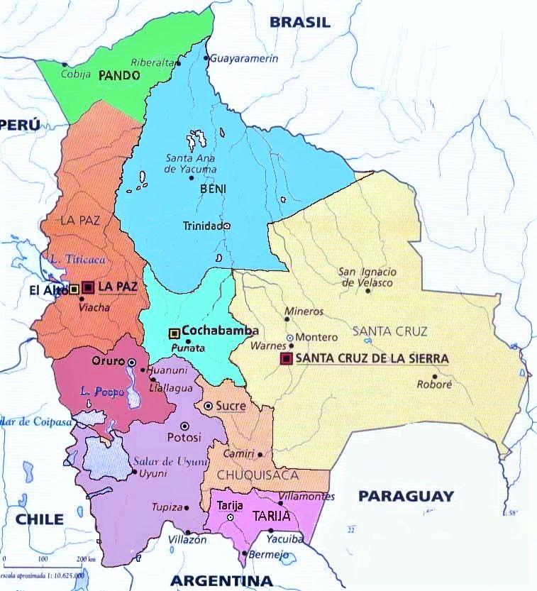 mapa politico bolivia nombres capitales