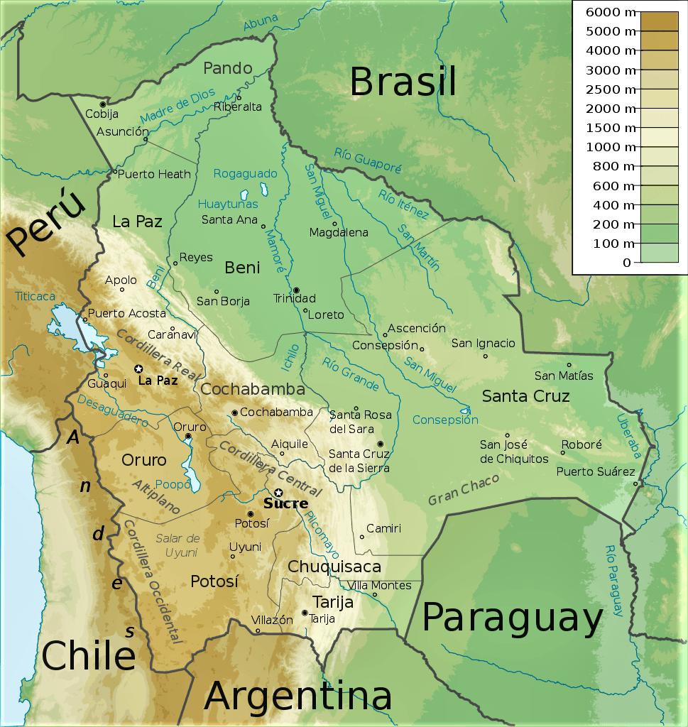 mapa fisico bolivia con nombres