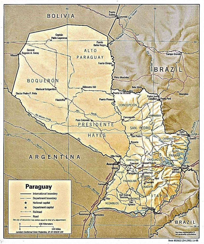 mapa fisico politico paraguay