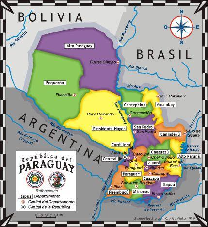 mapa politico paraguay departamentos y capitales