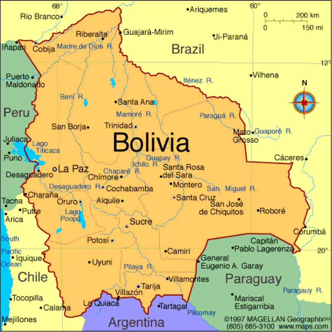 Mapa De Bolivia Político Físico Grande Para Imprimir 2019
