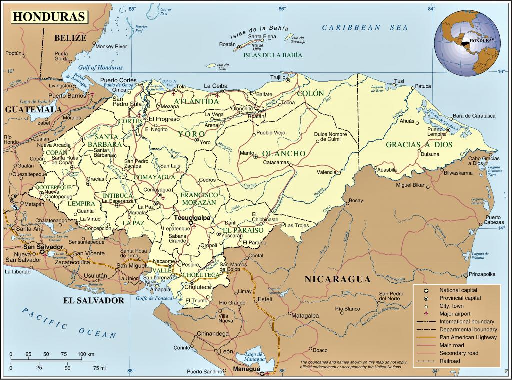 mapa honduras politico con nombres