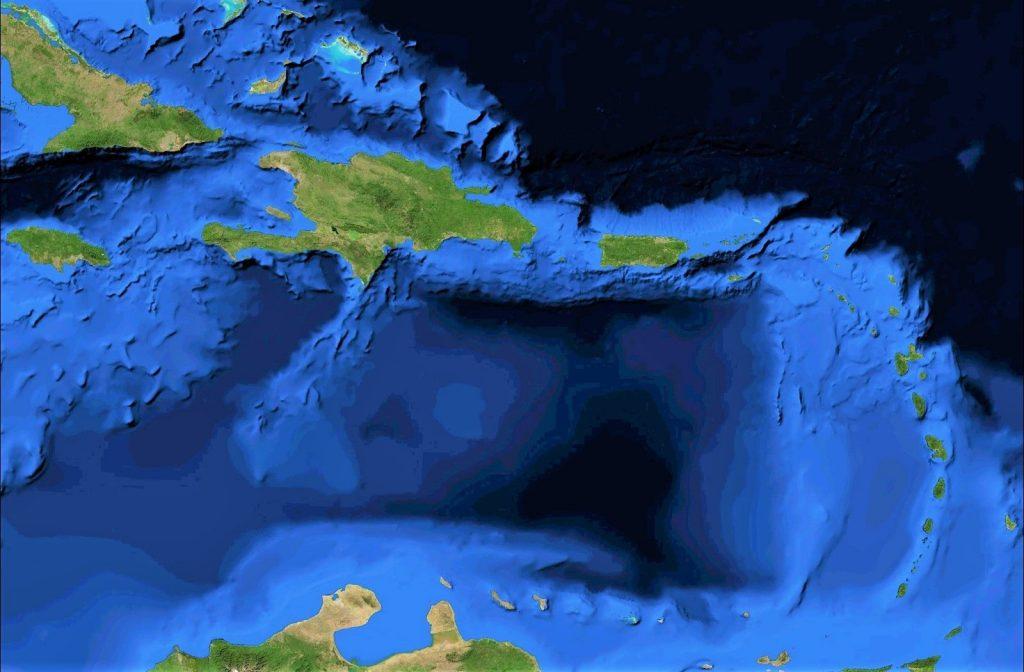 mapa fisico mudo caribe antillas