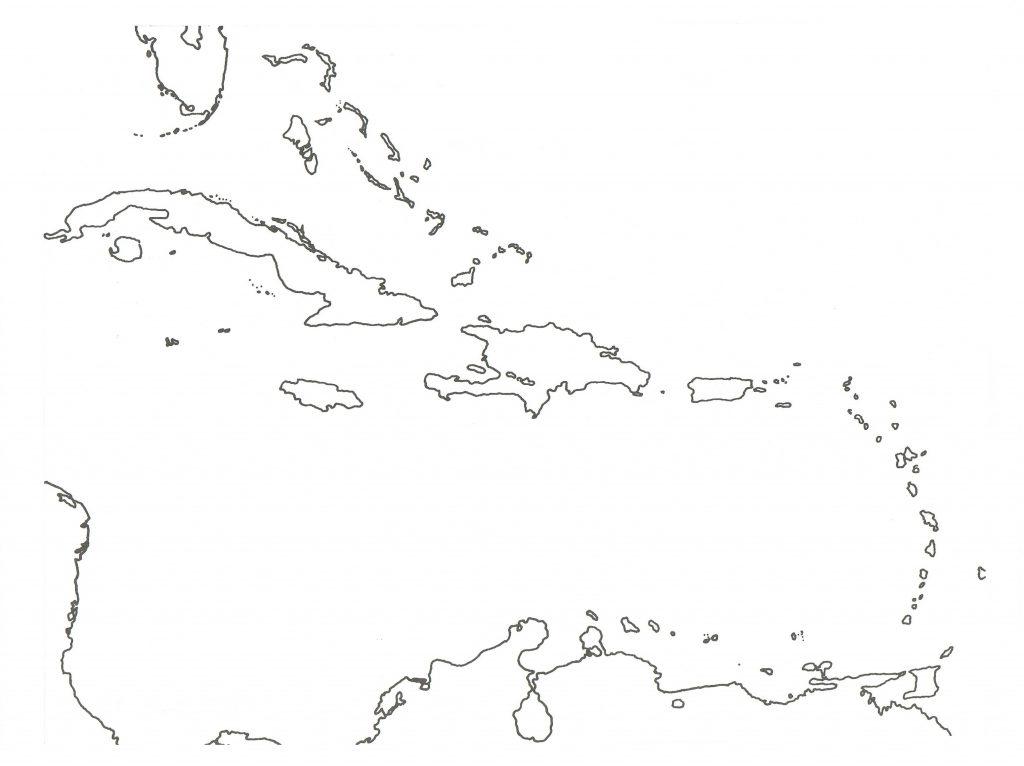 mapa caribe imprimir colorear