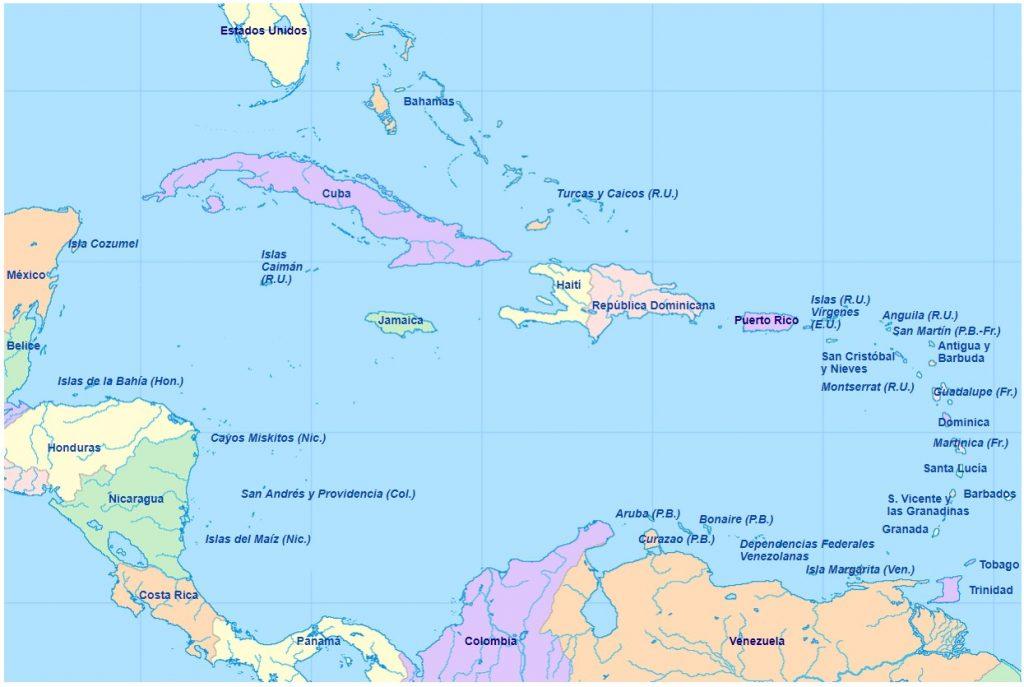 mapa caribe nombres español