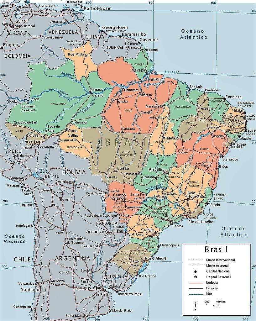 mapa brasil politico ciudades capitales
