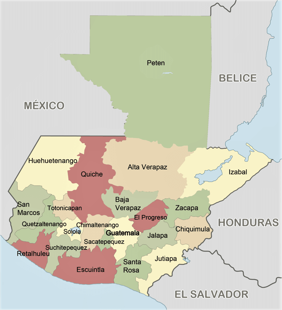 mapa guatemala politico division