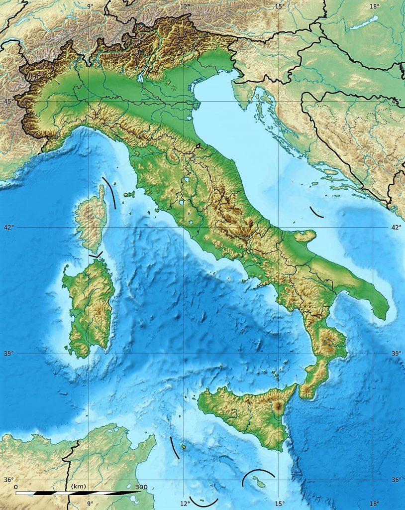 mapa fisico mudo italia