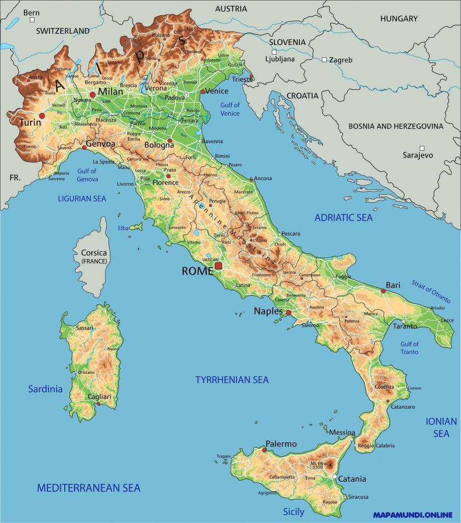 mapa fisico italia