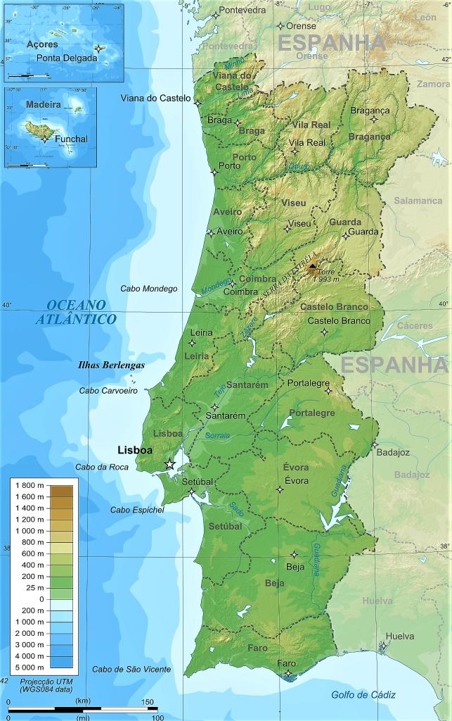 mapa fisico politico portugal fronteras division