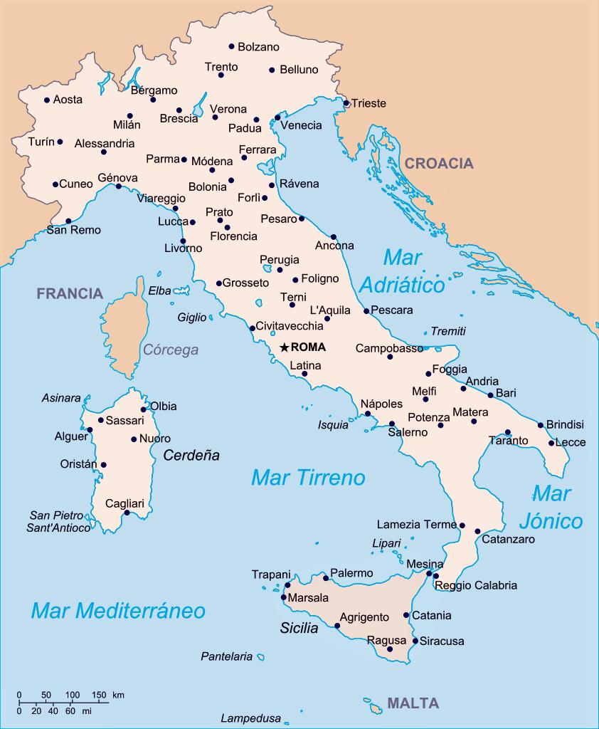 mapa italia nombres español