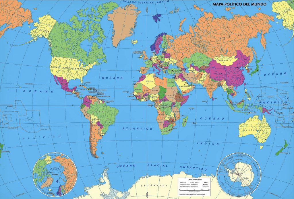 mapamundi politico nombres para imprimir