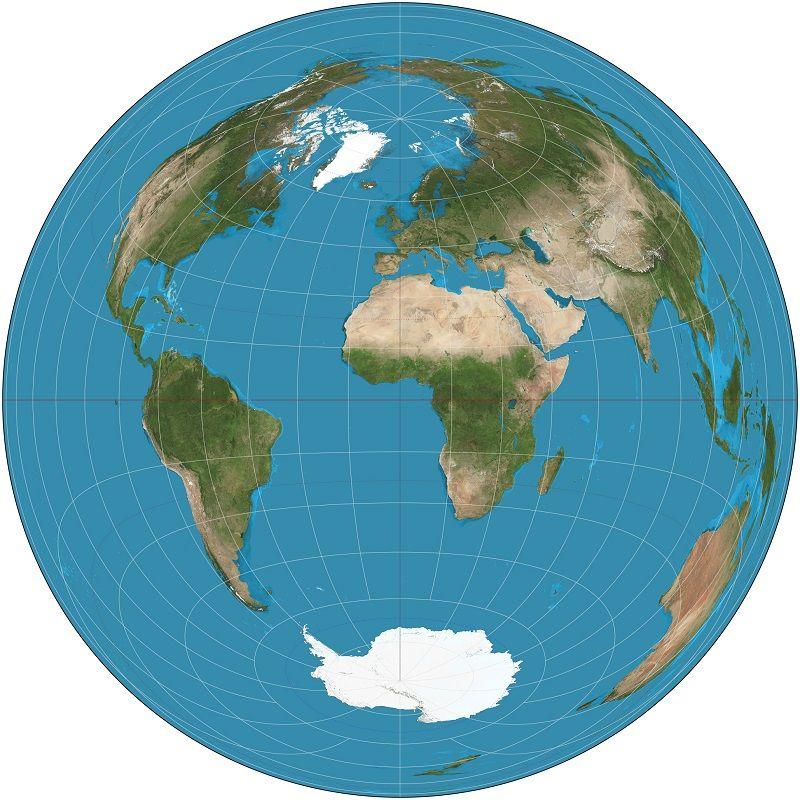 mapa del mundo terrestre redondo circular