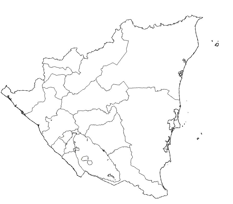 mapa nicaragua colorear blanco