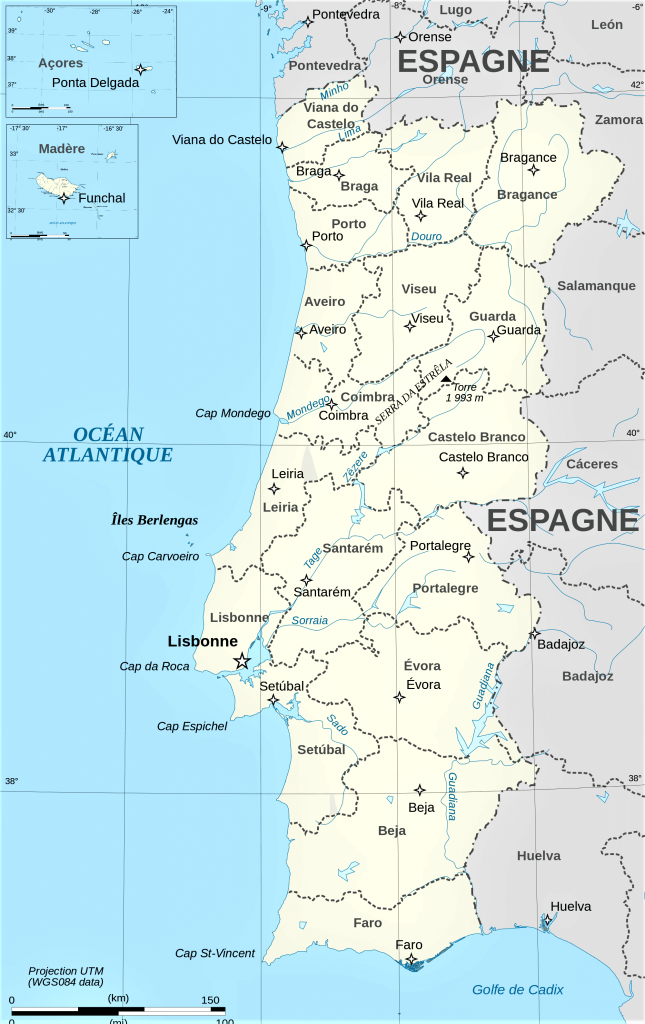 mapa politico portugal distritos regiones con nombres