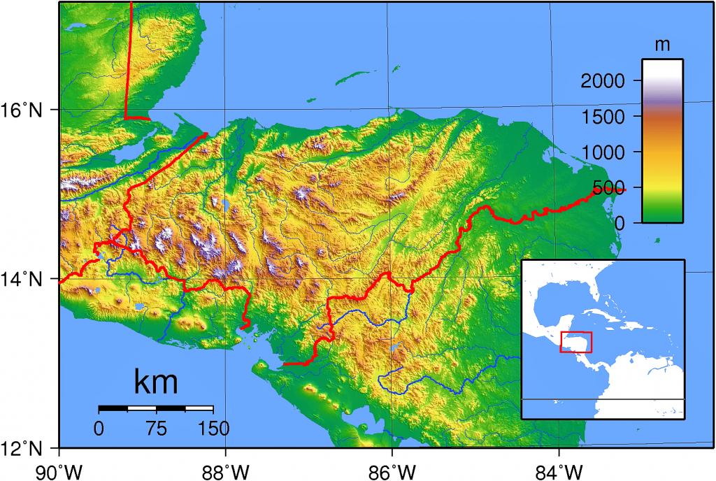mapa relieve honduras grande