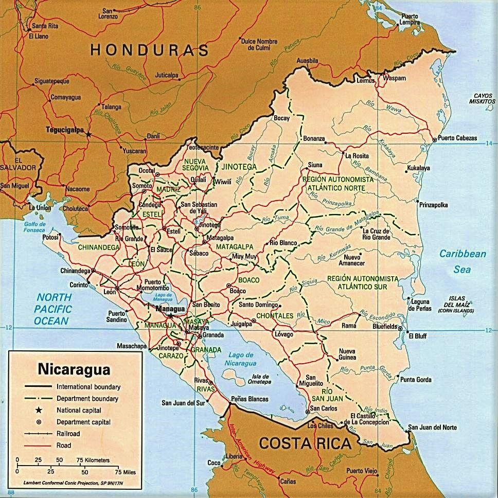 mapa nicaragua nombres español