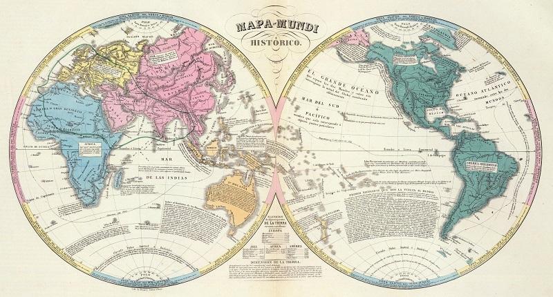 mapamundi antiguo 1840
