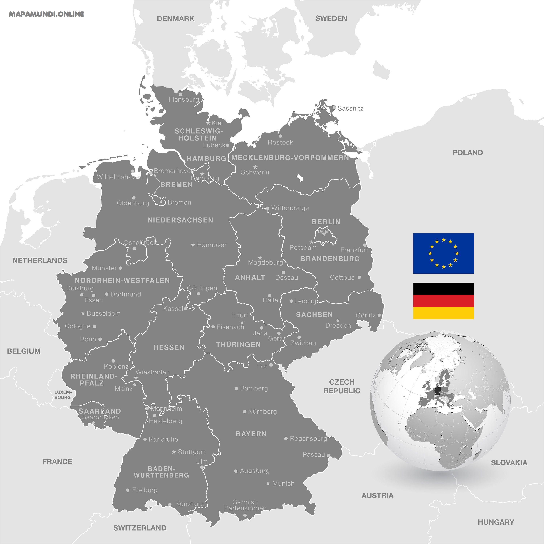 Mapa Politico De Alemania Actual.Mapa De Alemania Politico Fisico Descargar E