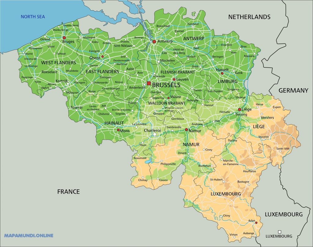 mapa belgica fisico
