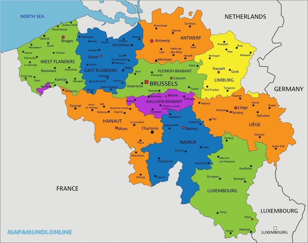 mapa belgica politico