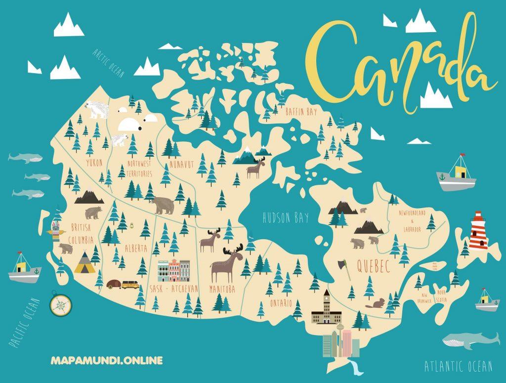 mapa canada niños diseño decorativo