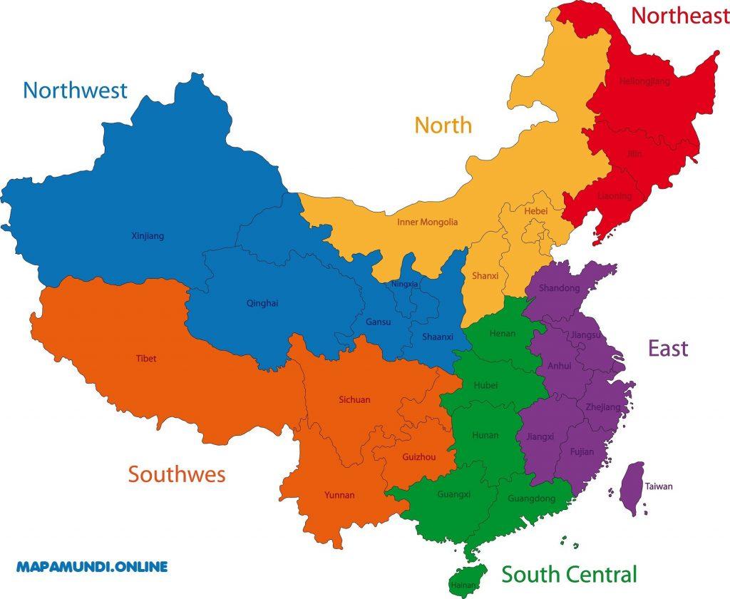 mapa china regiones