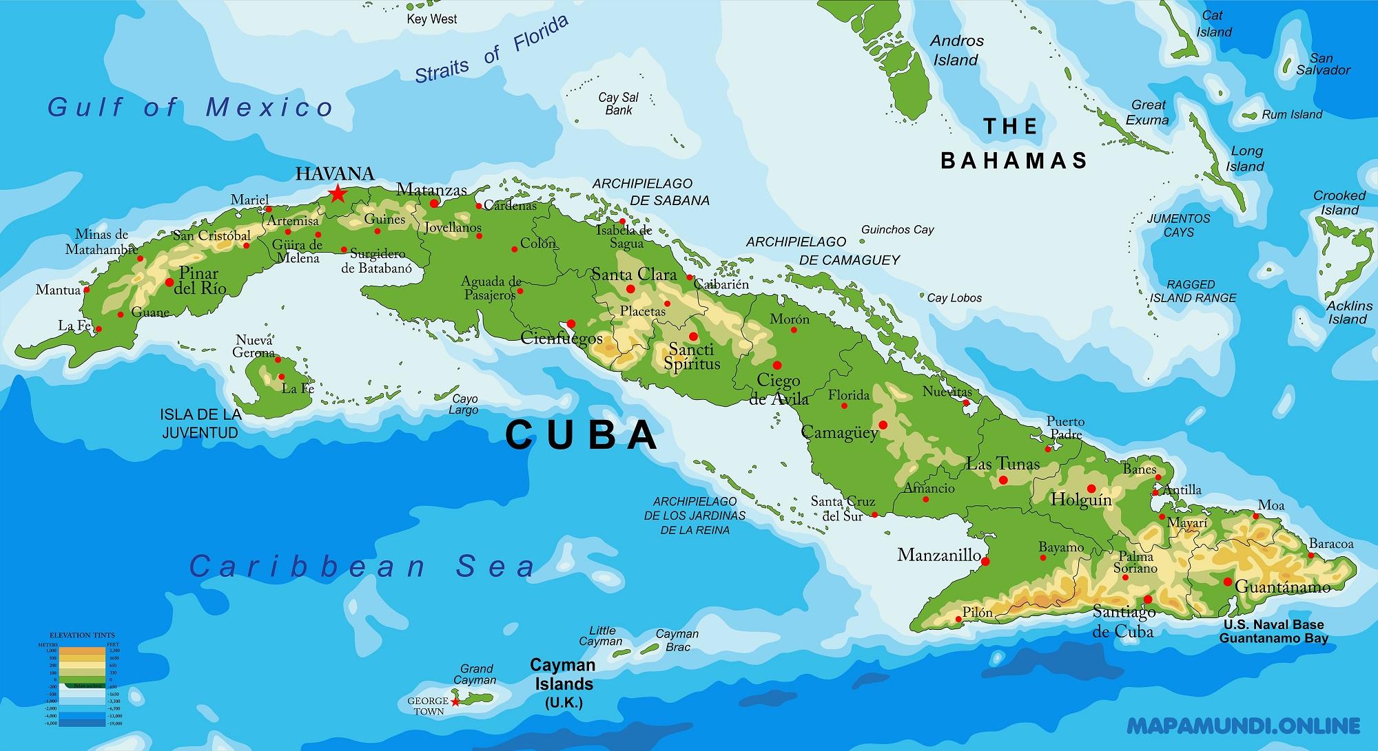 Cuba Mapa Del Mundo.Mapa De Cuba Politico Fisico Para Imprimir