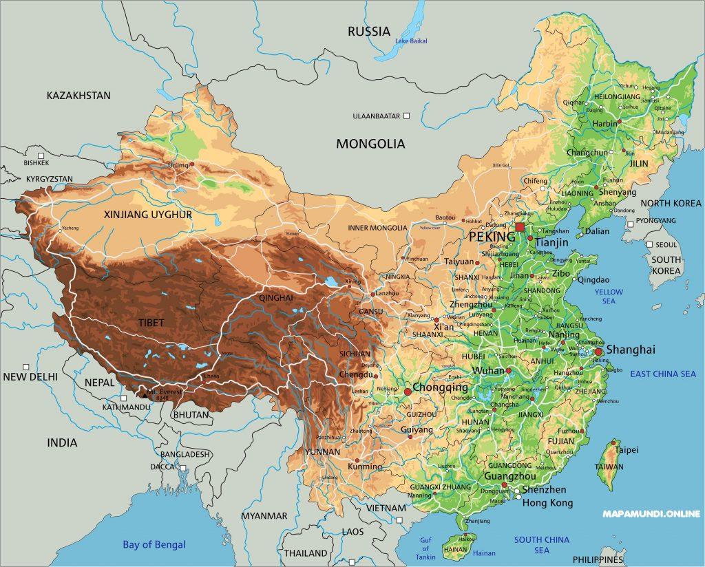 mapa china fisico rios