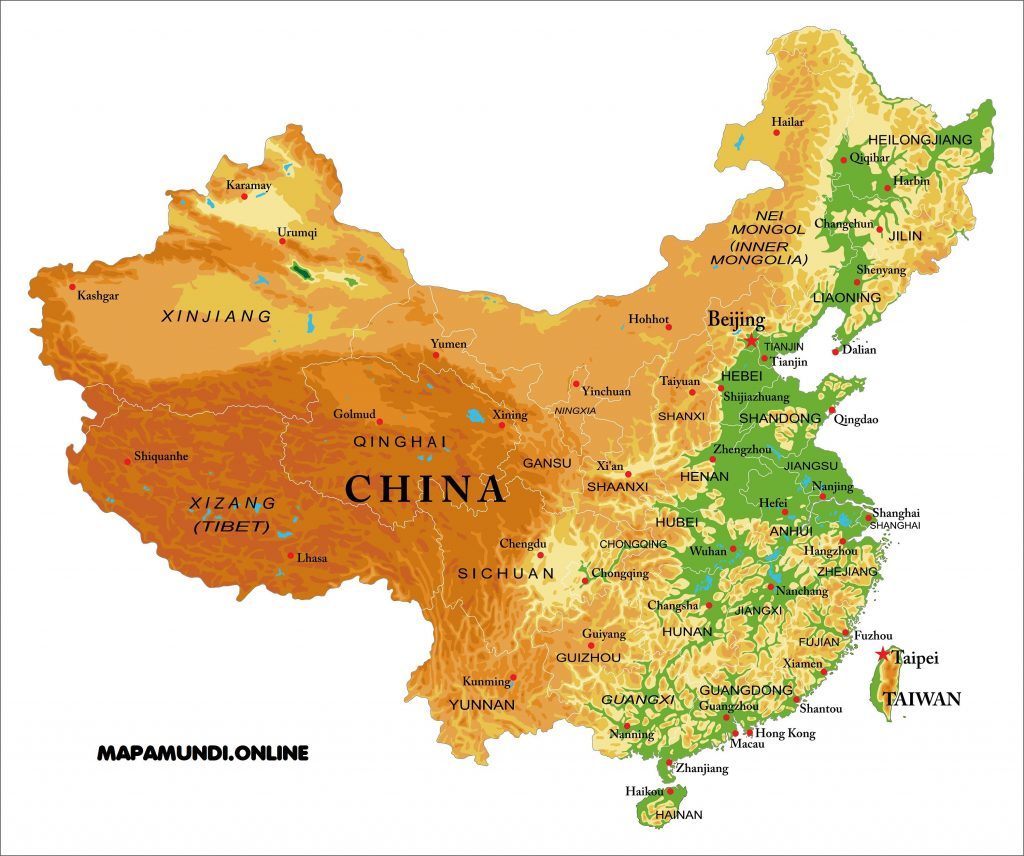 mapa china fisico politico